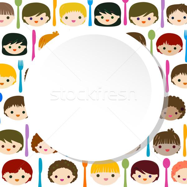 Foto stock: Menu · crianças · faces · crianças · feliz · olhos