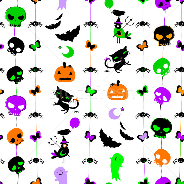 Halloween cute crânes chats Photo stock © dip