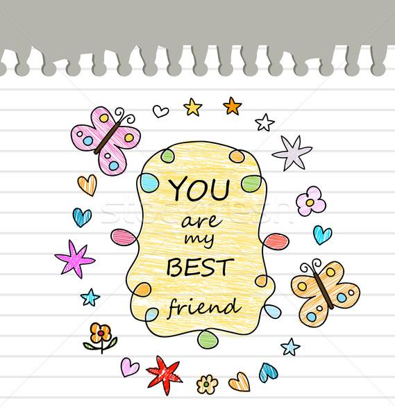 Meilleur ami dessin papier papillon école design Photo stock © dip