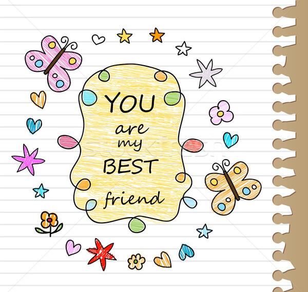 Mejor amigo dibujo papel mariposa escuela diseno Foto stock © dip