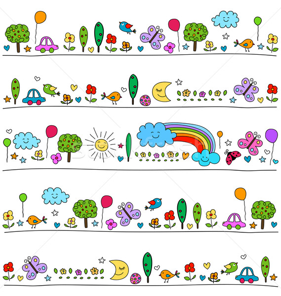 colorful pattern for children with cute nature elements Stock photo © dip