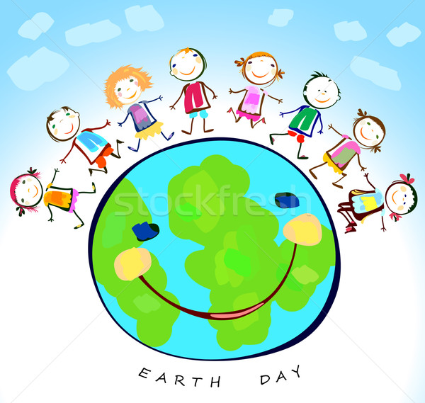 Gelukkig kinderen spelen rond aarde planeet glimlach Stockfoto © dip