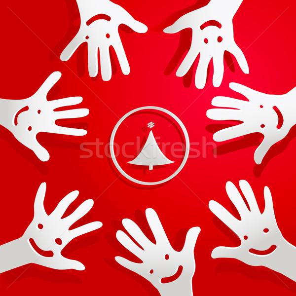Papel mãos faces árvore de natal árvore festa Foto stock © dip