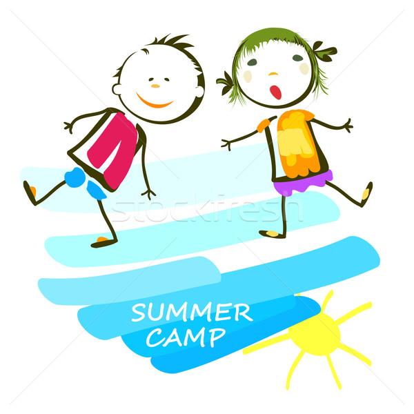 Yaz kampı poster mutlu çocuklar gökyüzü manzara Stok fotoğraf © dip