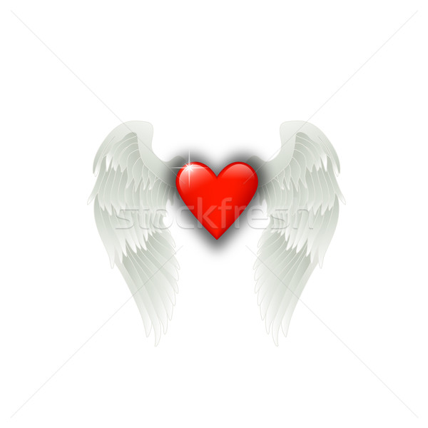 Coeur ailes d'ange brillant rouge amour design Photo stock © dip
