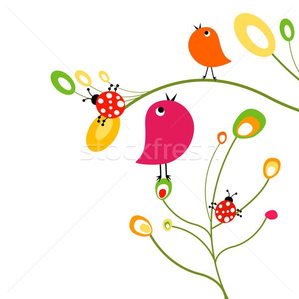 鳥 花 自然 デザイン 鳥 面白い ストックフォト © dip