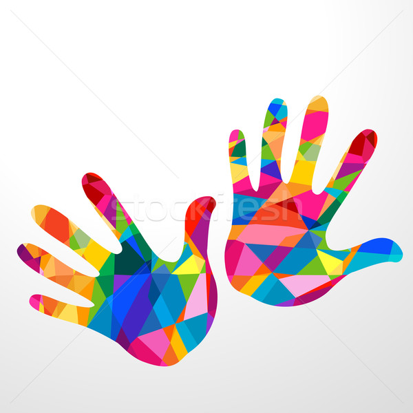 hands colorful illustration Stock photo © dip