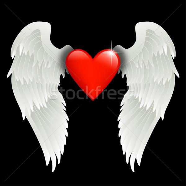 Szív angyalszárnyak fényes piros szeretet terv Stock fotó © dip