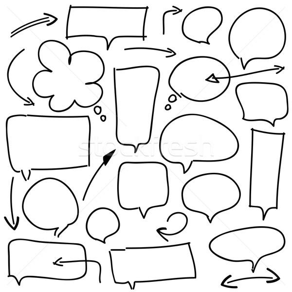 Bubble toespraak pijlen witte ingesteld doodle Stockfoto © dip