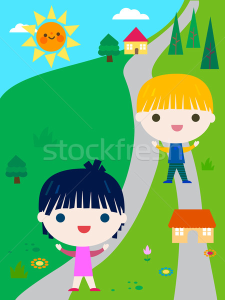 happy little kids summer camp Stock photo © dip