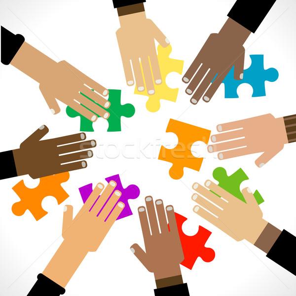 Diversiteit handen puzzel illustratie achtergrond kleuren Stockfoto © dip