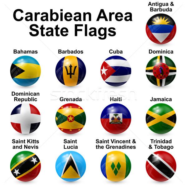 Stockfoto: Bal · vlaggen · caribbean · ontwerp · wereld · teken