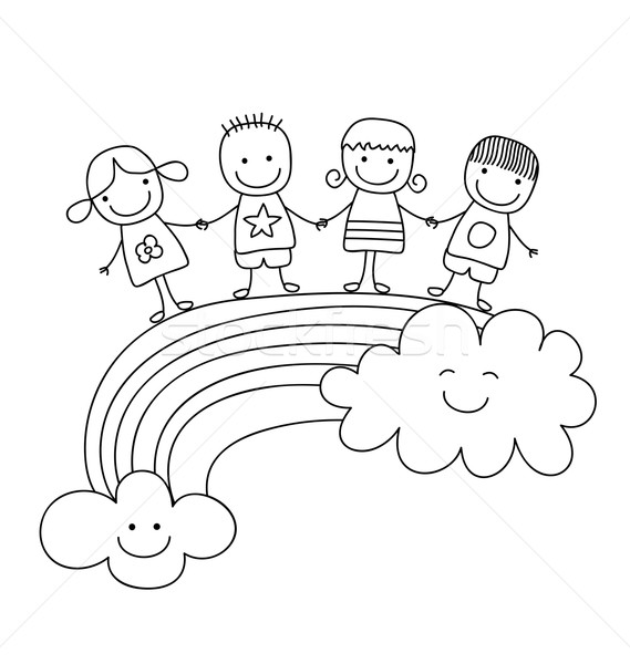 En İyi arkadaşlar mutlu çocuklar gökkuşağı gülümseme takım Stok fotoğraf © dip
