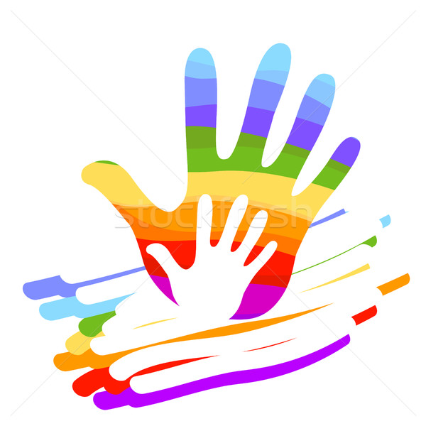 Mão arco-íris ilustração colorido projeto fundo Foto stock © dip