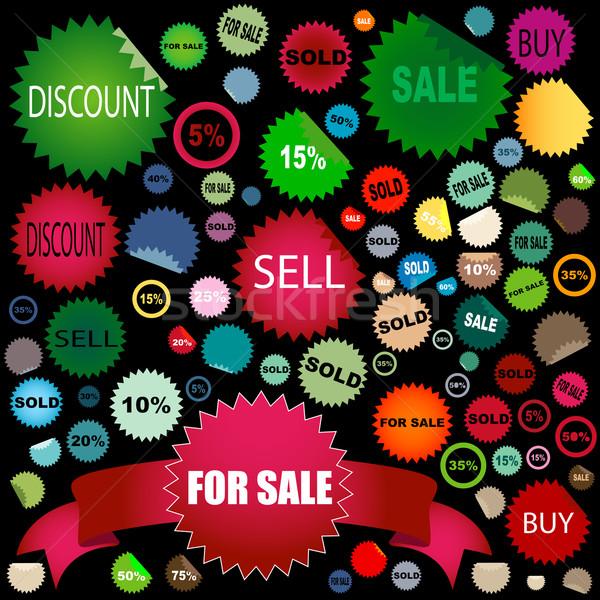 Verkoop stickers ingesteld verschillend kleuren Stockfoto © dip