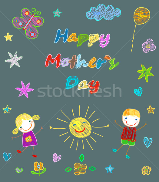 Feliz dia das mães cartão flores menina nuvens sorrir Foto stock © dip