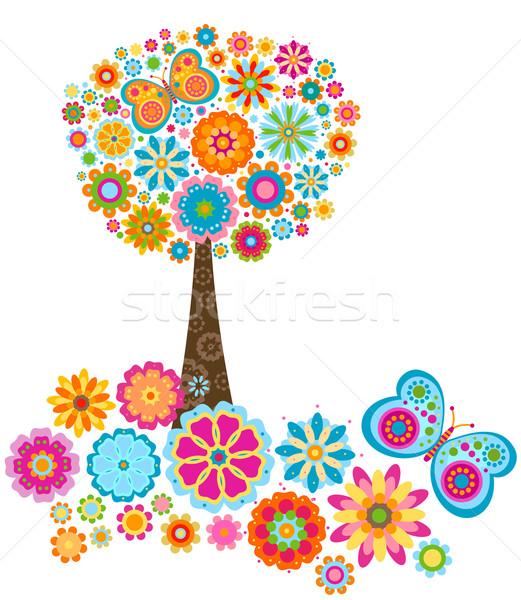 Fleur arbre fleurs papillons printemps papillon Photo stock © dip
