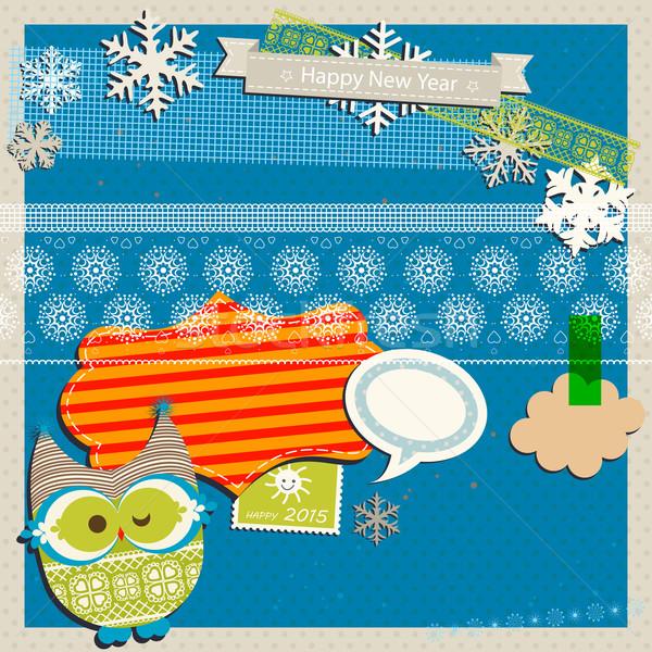 冬 スクラップブック テンプレート かわいい フクロウ 紙 ストックフォト © dip