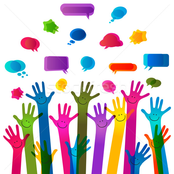 hands with happy faces and bubbles speech, no transparencies Stock photo © dip