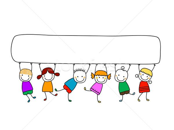 Feliz crianças bandeira mãos sorrir olhos Foto stock © dip