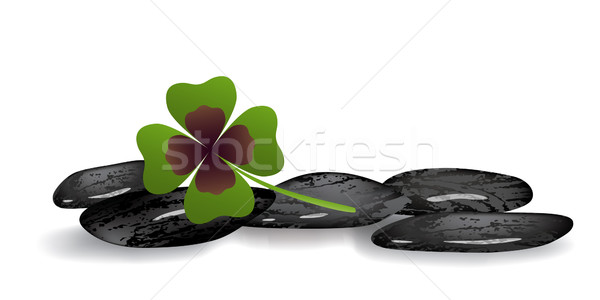 shamrock leaf on black stones Stock photo © dip