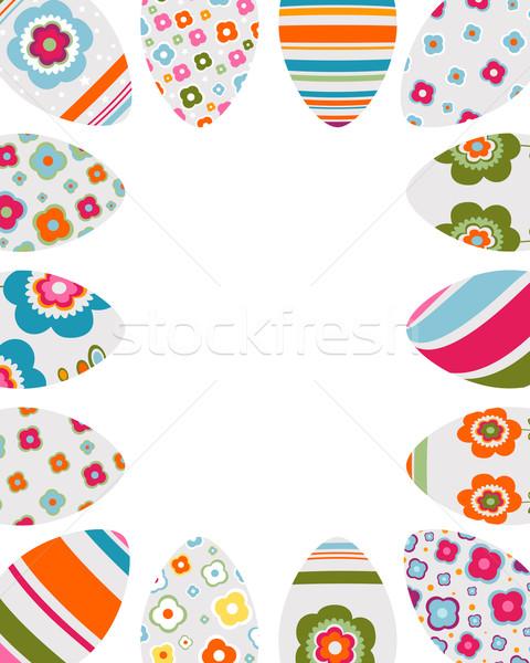Kleurrijk paaseieren frame ingericht bloemen ontwerp Stockfoto © dip