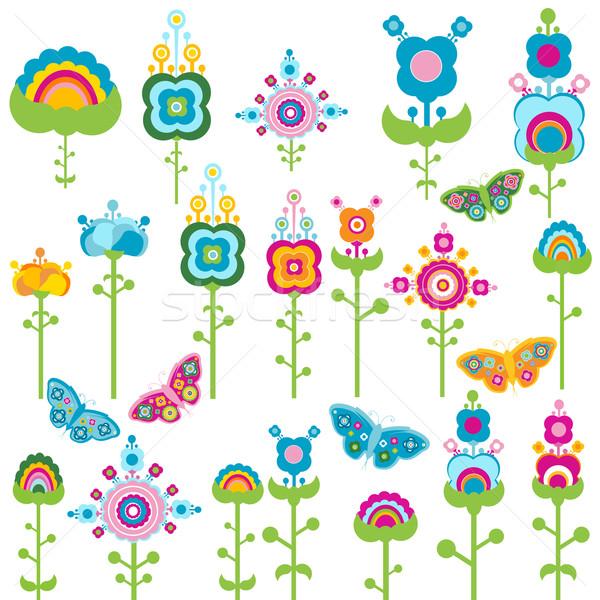 Retro elementos flores borboletas primavera borboleta Foto stock © dip