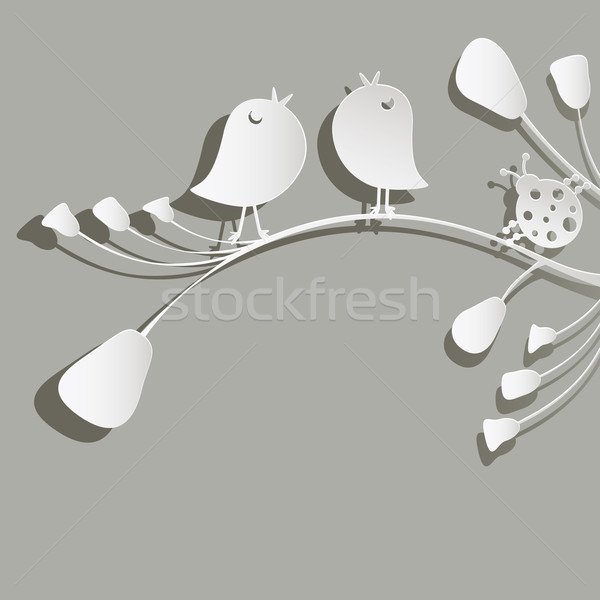 Kuşlar uğur böceği kâğıt çiçekler çiçek ağaç Stok fotoğraf © dip