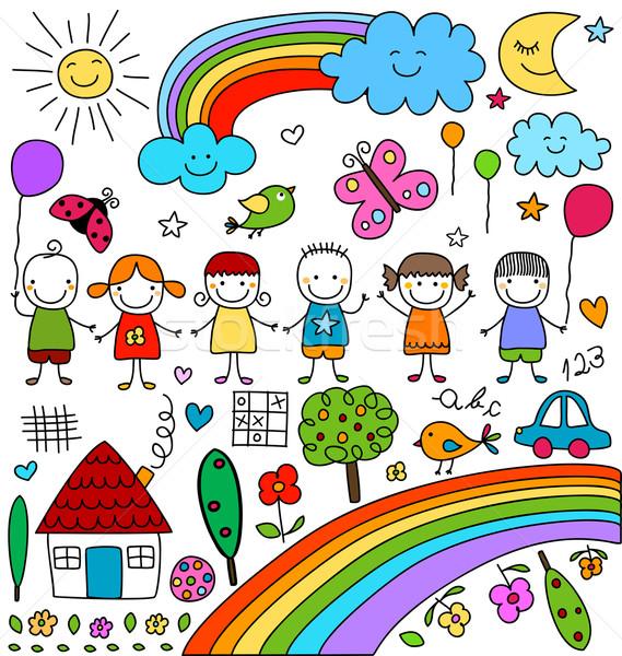 Kind zoals tekeningen ingesteld kinderen wolken Stockfoto © dip