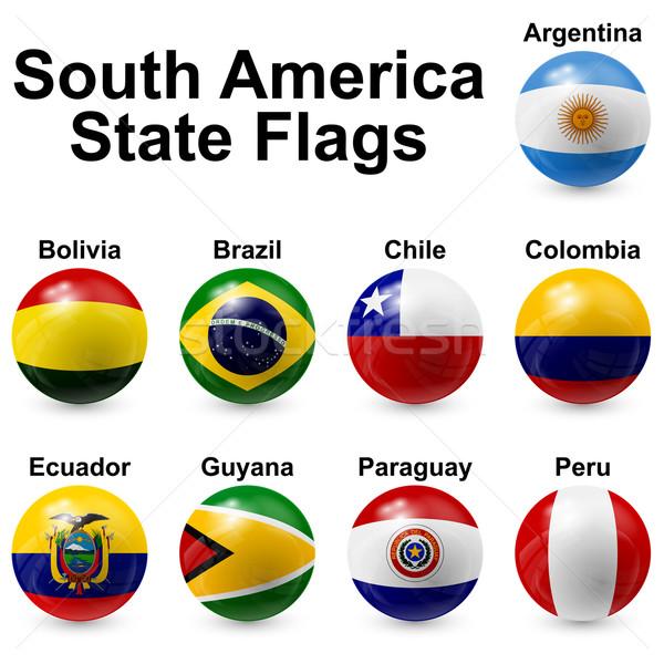 Сток-фото: мяча · флагами · Южной · Америке · свет · дизайна · Мир