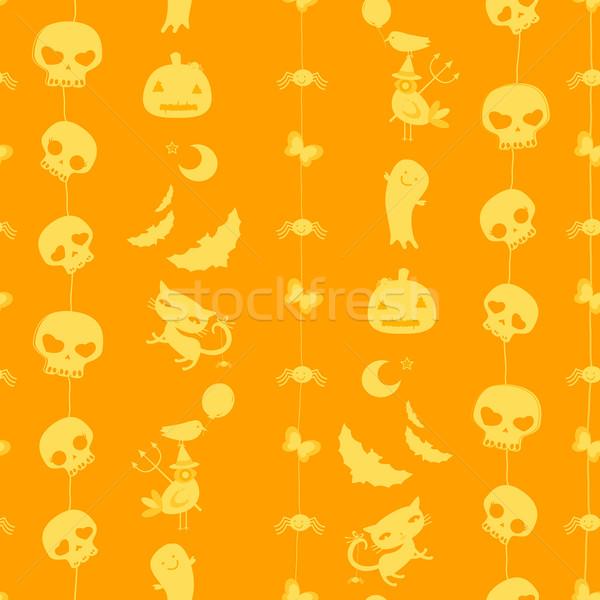 Halloween végtelen minta aranyos koponyák szellemek macskák Stock fotó © dip