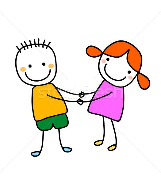 Menina menino de mãos dadas mãos sorrir crianças Foto stock © dip