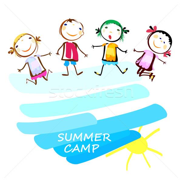 Yaz kampı poster mutlu çocuklar eller güneş Stok fotoğraf © dip