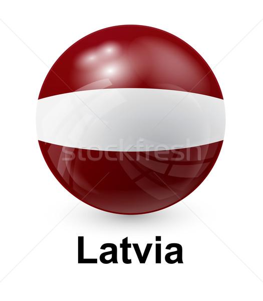 Lettország zászló fény világ felirat labda Stock fotó © dip