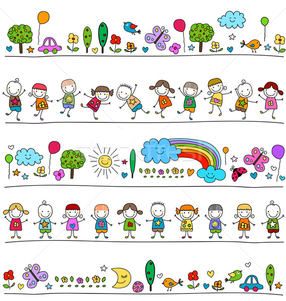 colorful pattern with children and cute nature elements Stock photo © dip