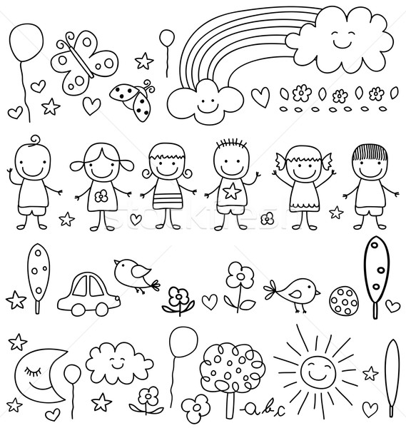 cute kids and natur elements pattern Stock photo © dip
