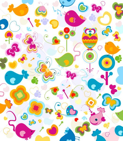 Dieren patroon ontwerp kinderen Stockfoto © dip