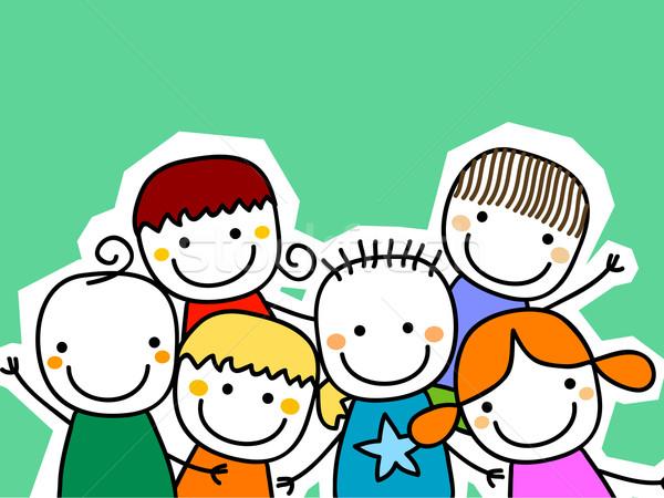 Stok fotoğraf: Grup · çocuklar · kart · gülümseme · çocuklar · mutlu