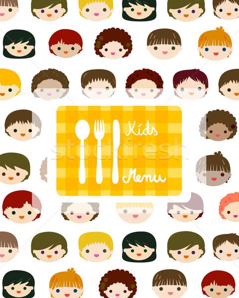 Foto stock: Crianças · faces · menu · crianças · olhos · projeto
