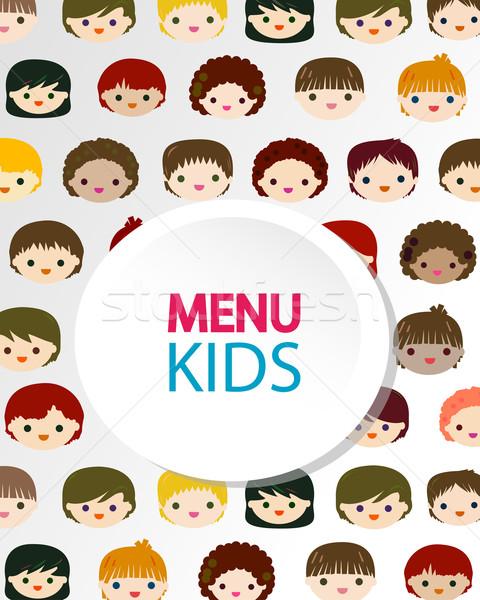 Foto stock: Crianças · faces · menu · crianças · feliz · olhos