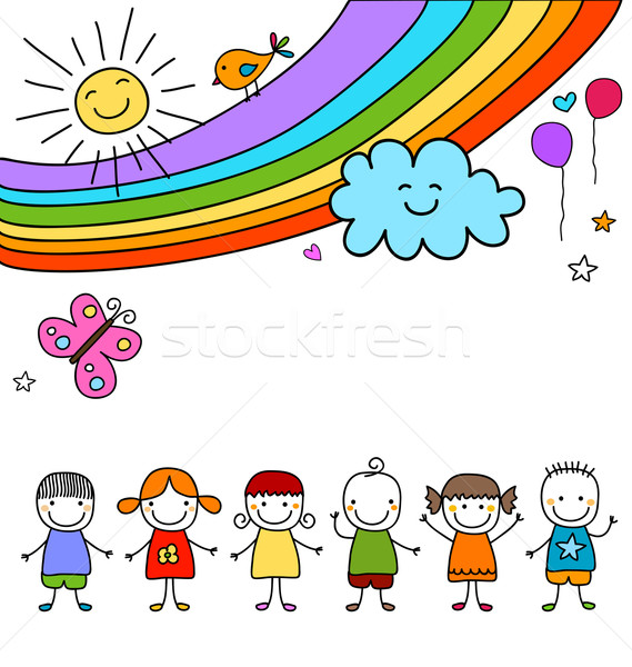 kids group and rainbow Stock photo © dip