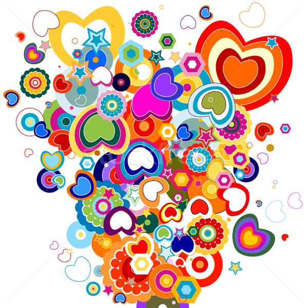 Kleurrijk harten ontwerp bloemen textuur bruiloft Stockfoto © dip
