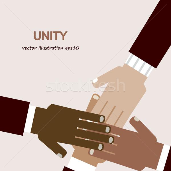 Mãos diverso unidade grupo equipe cores Foto stock © dip