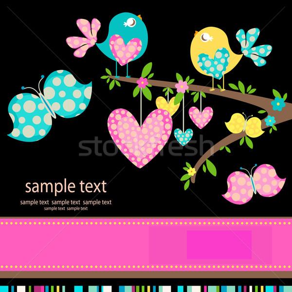 Aves amor primavera páscoa festa borboleta Foto stock © dip