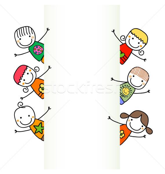 Gelukkig kinderen banner handen glimlach ogen Stockfoto © dip