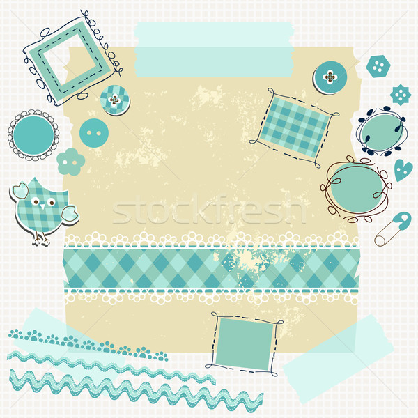 blue scrapbook kit Stock photo © dip