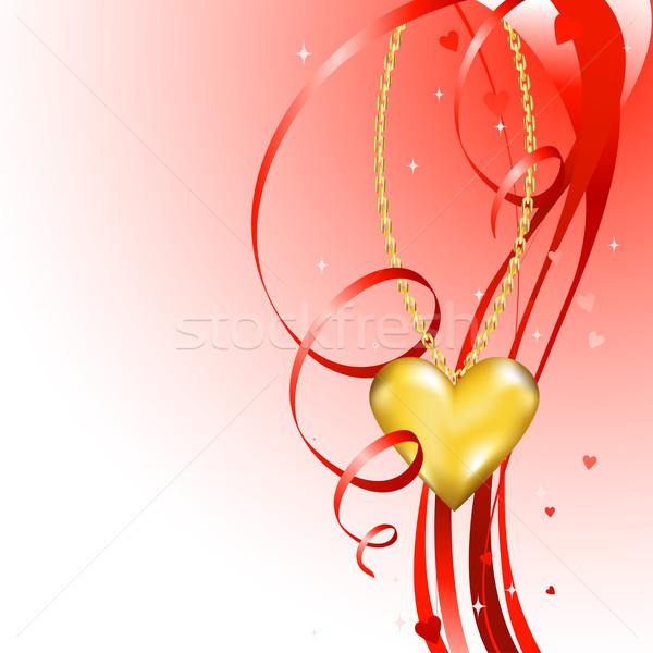 Valentin nap terv fényes arany szív szeretet Stock fotó © dip