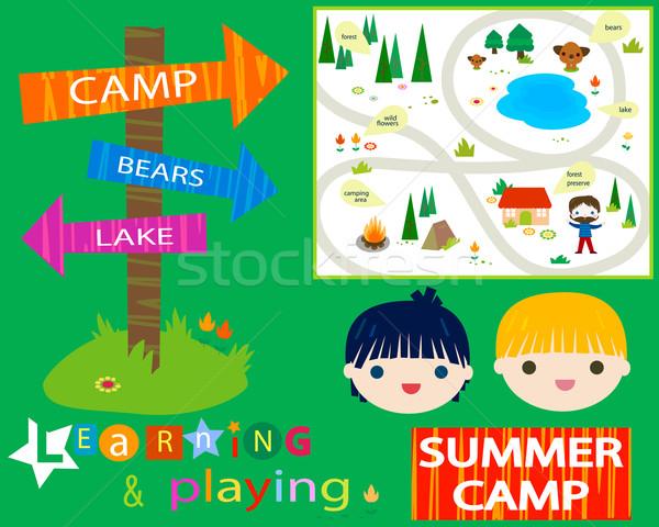 Campamento de verano flores nina ninos feliz mapa Foto stock © dip