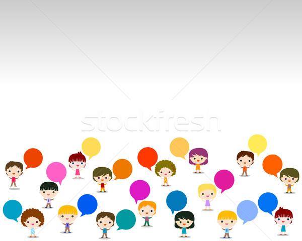 Kinderen praten kinderen school ogen ontwerp Stockfoto © dip
