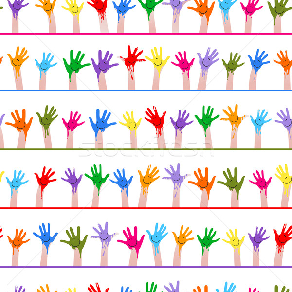 colorful hands seamless pattern Stock photo © dip